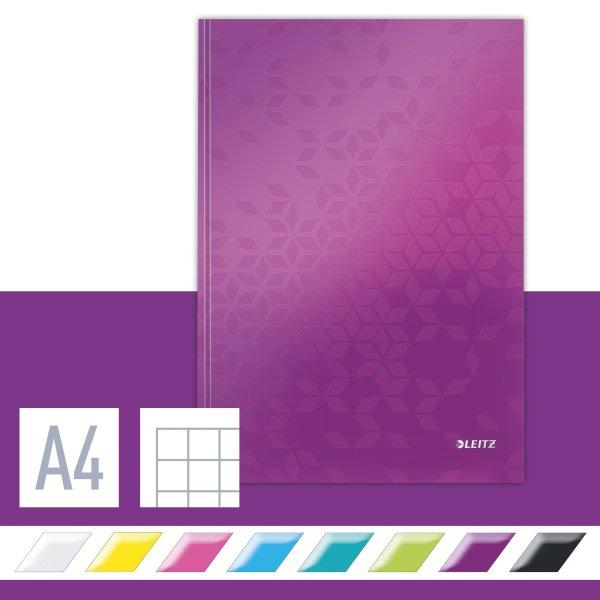Leitz WOW notesbog A4, kvadreret, lilla