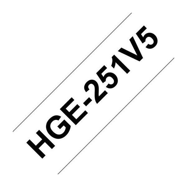 Brother HGe251V5 labeltape 24mm, sort på hvid