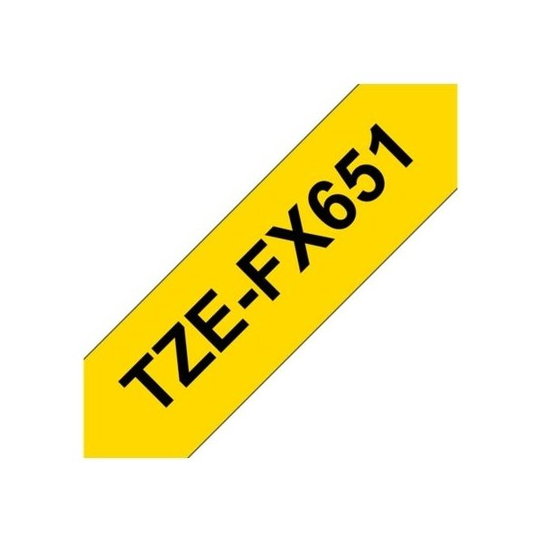 Brother TZe-FX651 labeltape 24mm, sort på gul