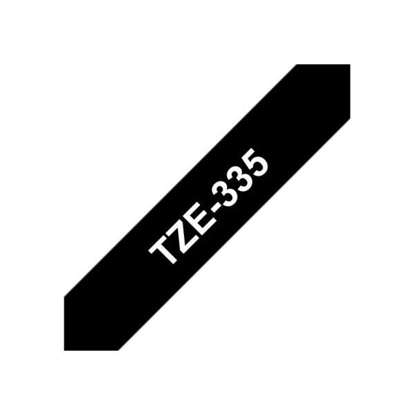 Brother TZe-335 labeltape 12mm, hvid på sort