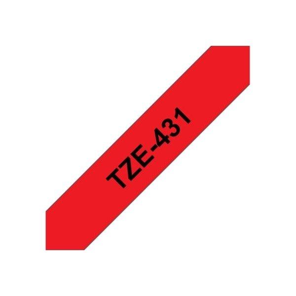 Brother TZe-431 labeltape 12mm, sort på rød