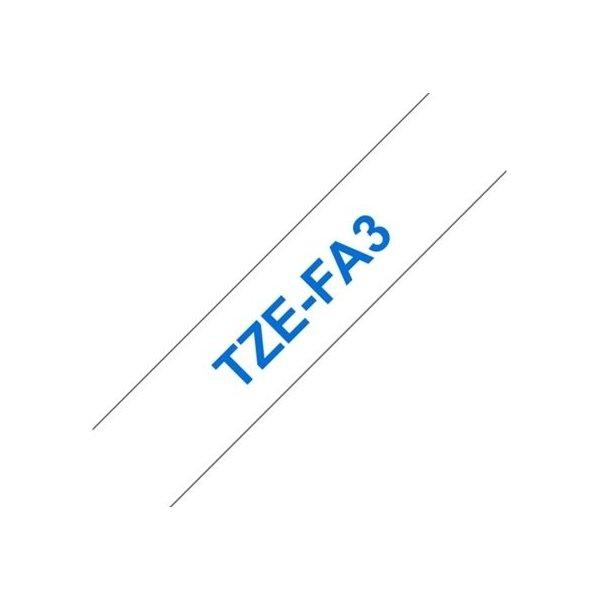 Brother TZe-FA3 stoftape 12mm, blå på hvid