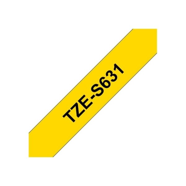 Brother TZe-S631 labeltape 12mm, sort på gul