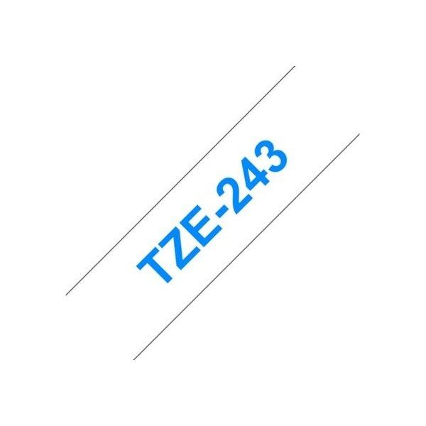 Brother TZe-243 labeltape 18mm, blå på hvid