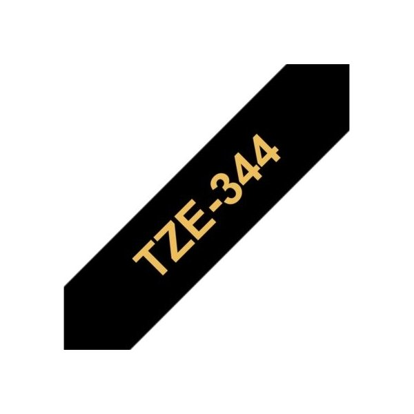 Brother TZe-344 labeltape 18mm, guld på sort