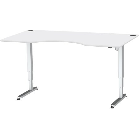 Stay hæve/sænkebord m/centerbue, hvid laminat/alu