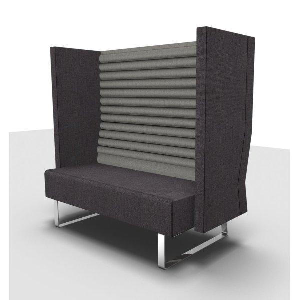 Kæmpestor Mr. Box høj 2 pers. sofa grå med sølvfarvet stel - Fri Fragt! DF71
