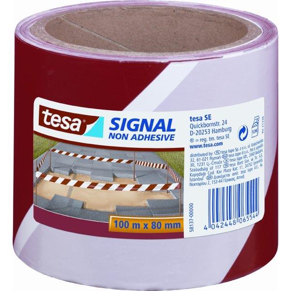 tesa Signal Afspærringsbånd 80 mm, rød/hvid
