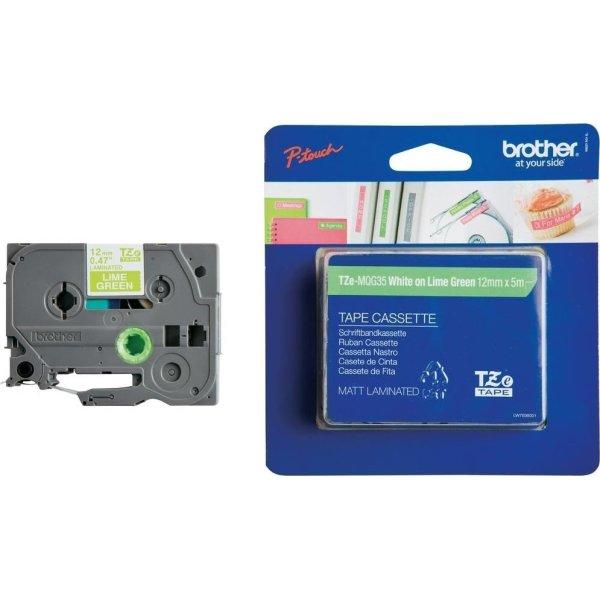 Brother TZe-MQG35 labeltape 12mm, hvid på grøn