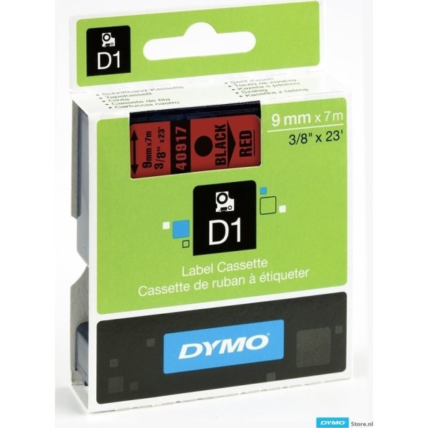 Dymo D1 labeltape 9mm, sort på rød