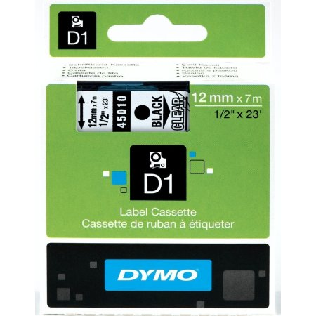 Dymo D1 labeltape 12mm, sort på klar