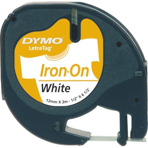 Dymo Letratag labeltape, stryg, 12mm, sort på hvid