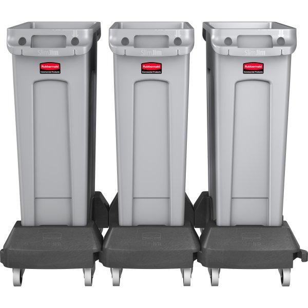 Vogn Rubbermaid Slim Jim affaldsbeholder, Sort