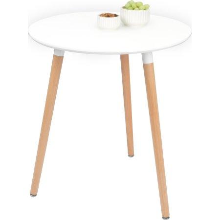 Fano loungebord Ø 60 cm hvid med stel i bøg