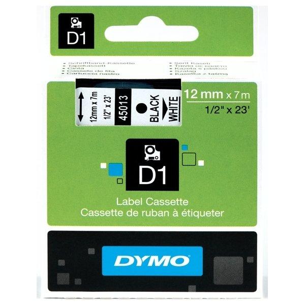 Dymo D1 labeltape 12mm, hvid på klar