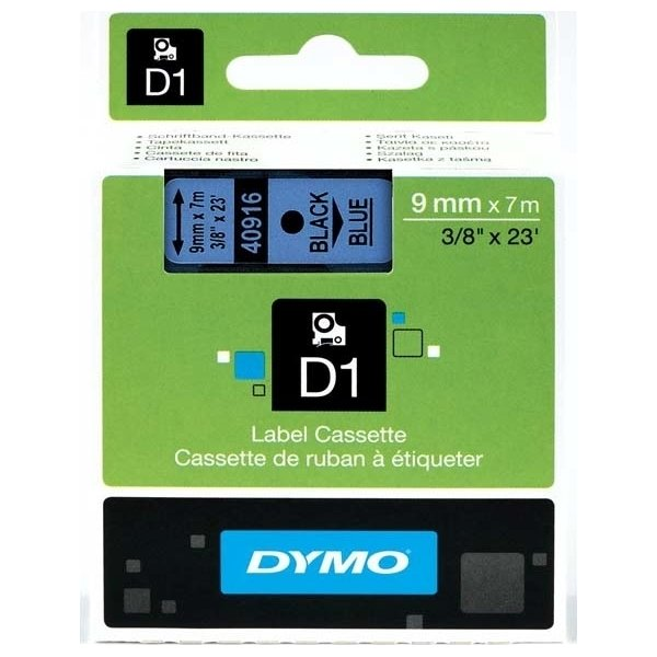 Dymo D1 labeltape 9mm, sort på blå