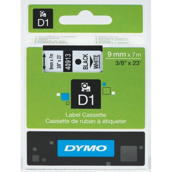 Dymo D1 labeltape 9mm, sort på gul