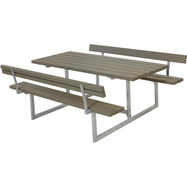 Plus Basic bord-bænkesæt m. ryglæn, Gråbrun