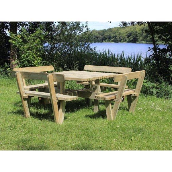 Plus Square bord-bænkesæt m. ryglæn, Natur
