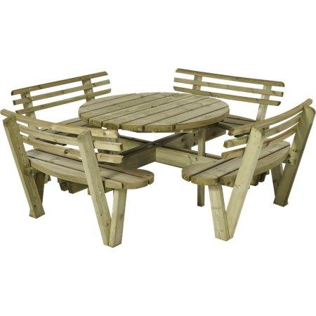 Plus Round bord-bænkesæt m. ryglæn, Natur