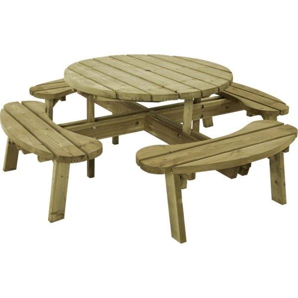 Plus Round bord-bænkesæt, Natur