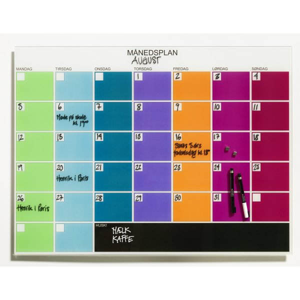 Stilig NAGA Magnetisk glastavle m. månedsplan, multifarve - Lomax A/S MP-11