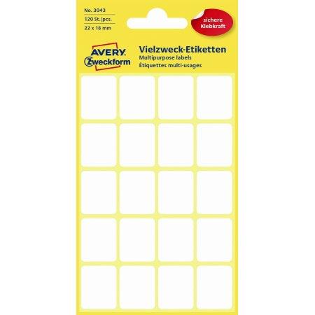 Avery 3043 manuelle etiketter, 22 x 18mm, 120 stk