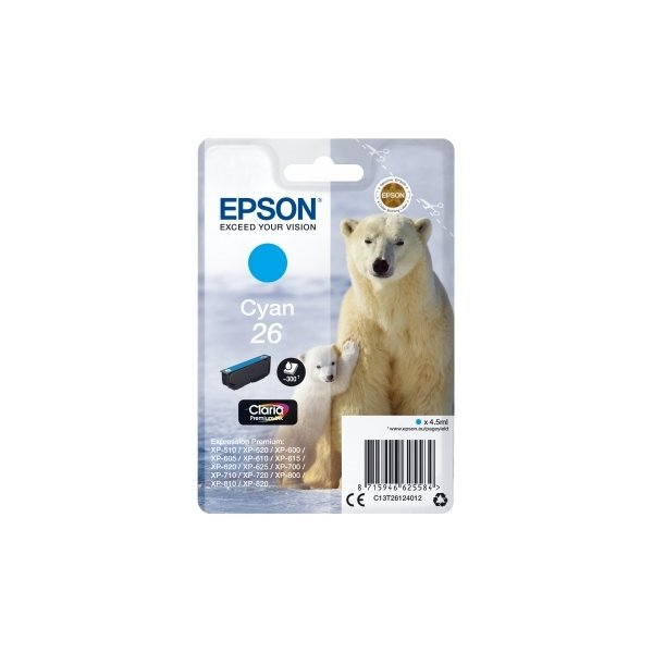 Epson nr.T2612/C13T26124022 blækpatron, blå, 300s