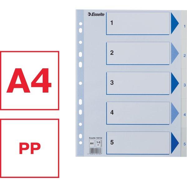Esselte register A4, 1-5, PP, hvid