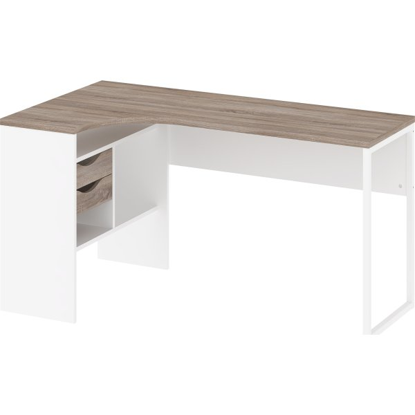 Smart Ritzy Skrivebord, Hvid/Eg, 145 cm - Fri Fragt! PD13