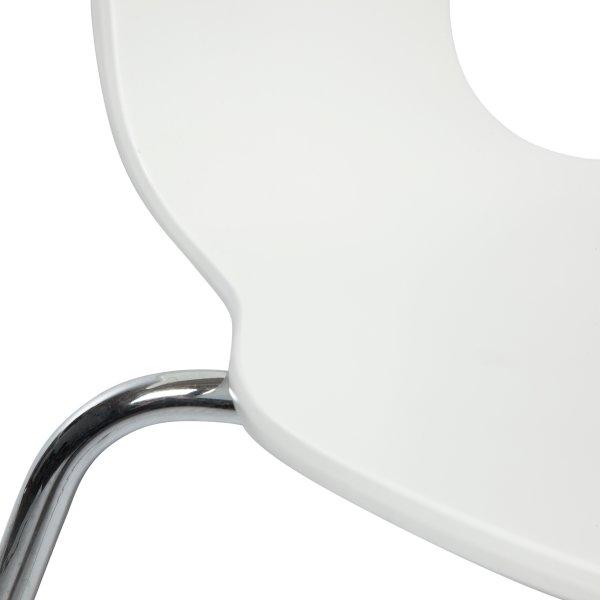 Comfort kantinestol hvid med krom stel