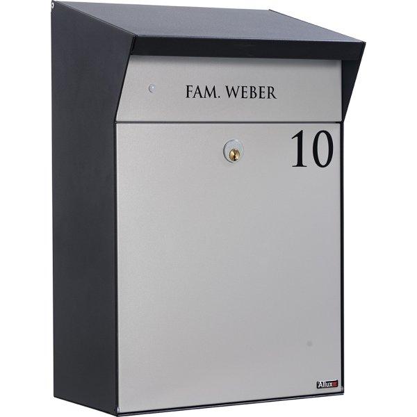Allux Bjørn Postkasse med LED-lys, sort/grå