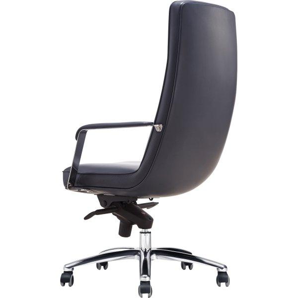 Atlas kontorstol m/ høj ryg, sort læder