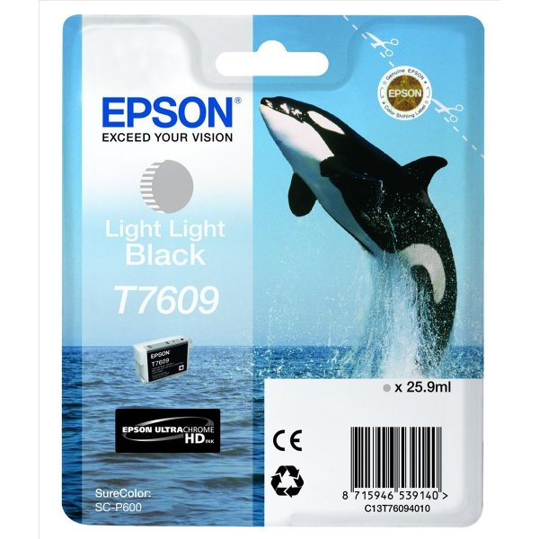 Epson T7609 blækpatron, Lys Sort, 25.9ml