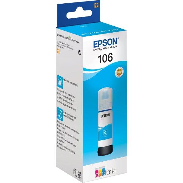 Epson T106 blæktank, cyan, 70ml