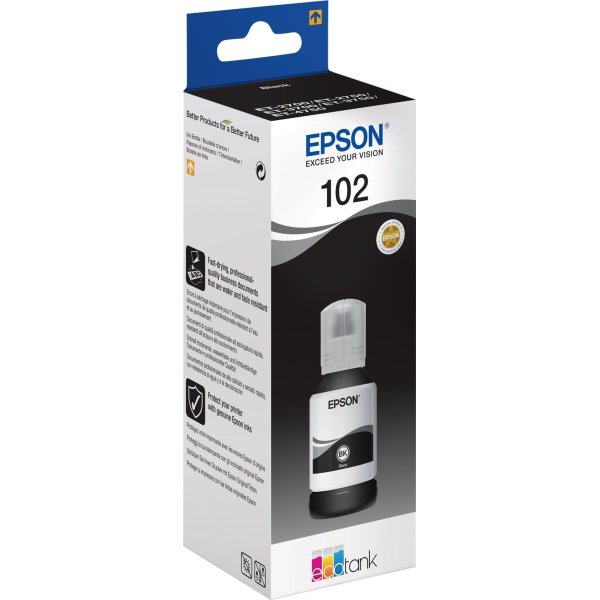 Epson T102 blæktank, sort, 127ml