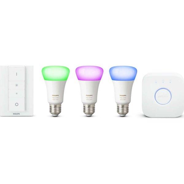 """Philips HUE E27 """"atmosfærelys"""" sampak, hvid+farvet"""