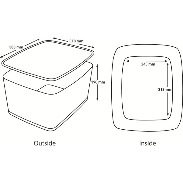 Leitz MyBox Opbevaringsboks Large, hvid/grå