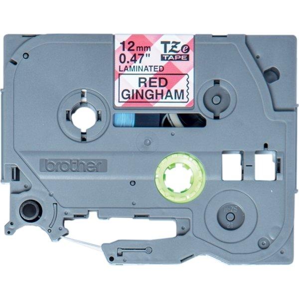 Brother TZe-MPRG31 labeltape,12mm sort på rød tern
