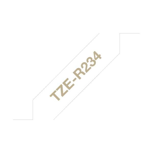 Brother TZe-R234 guld tekst på hvidt silkebånd