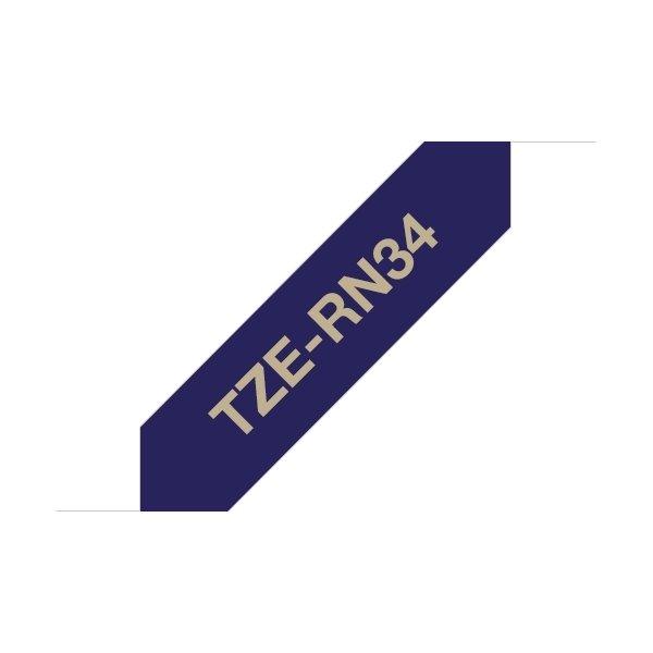 Brother TZe-RN34 guld tekst på blåt silkebånd