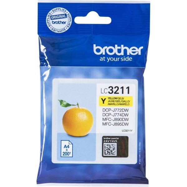 Brother LC3211 blækpatroner, gul, 200s