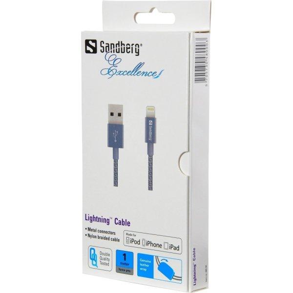 Sandberg Lightning Excellence kabel, grå (1 m)