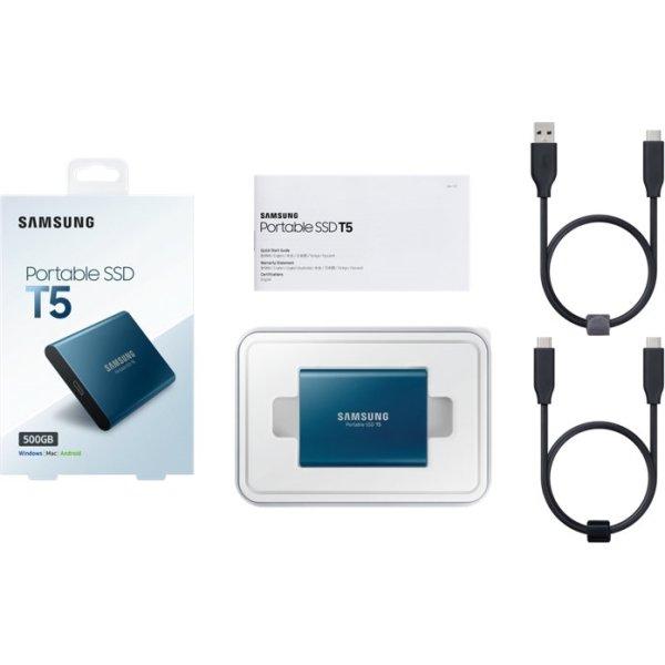Samsung T5 ekstern SSD harddisk 500GB, blå