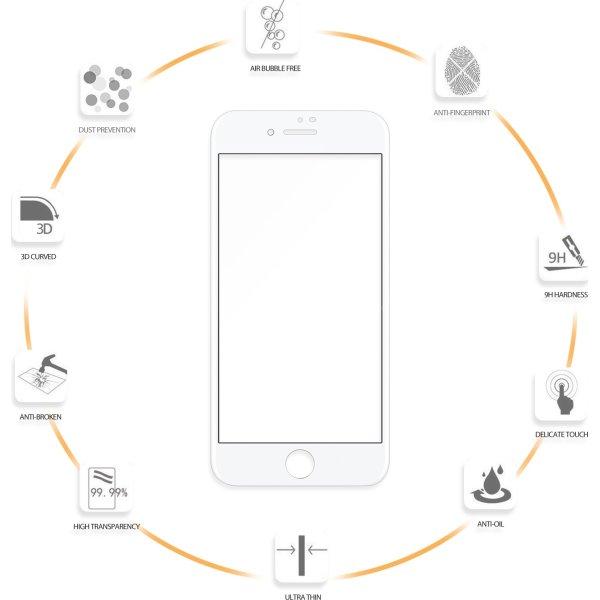 VMax 3D skærmbeskyttelse iPhone 6/6s/7/8 (hvid)