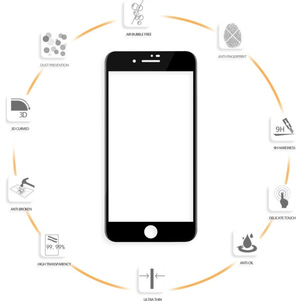 VMax 3D skærmbeskyttelse iPhone 6/6s/7/8Plus, sort