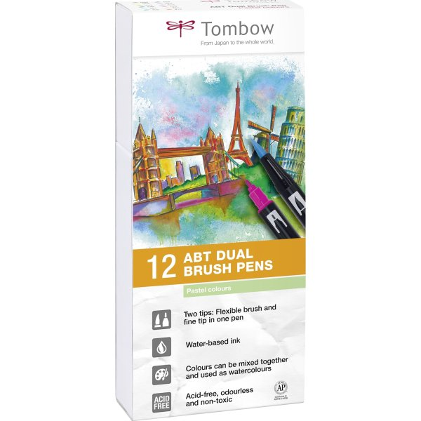 Tombow ABT Dual Pensel/Tousch, pastelfarver, 12stk