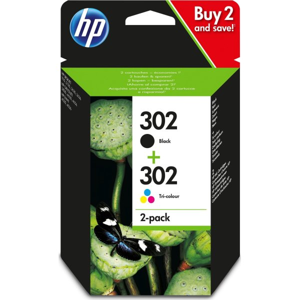 HP No302 blækpatron blister, sort, 2-pack