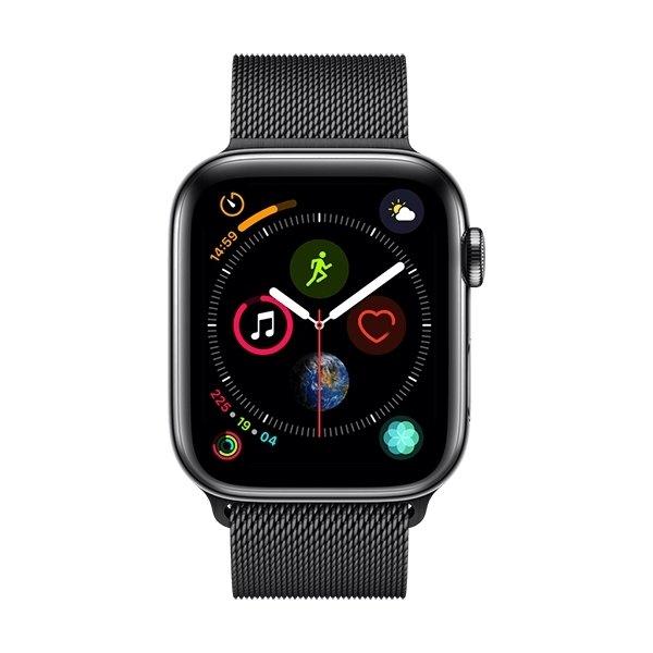Apple Watch Series 4 Cellular, 44mm, sort, stålrem