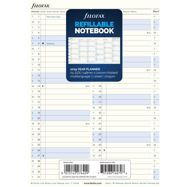 Filofax Årsplan 2019 til Byg-Selv notesbog